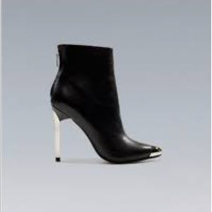 Zara Metal Pointy Heeled Ankle Boots 38 7 1/2